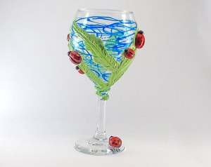 Polymer-Clay-Lady-Bug-Hand-Painted-Wine-Glass-1